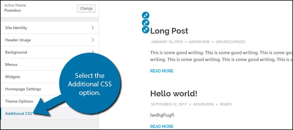 Select the Additional CSS option.