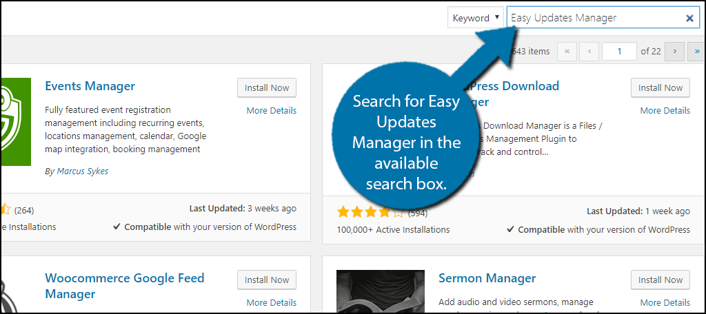 Search for Easy Updates Manager in the available search box.