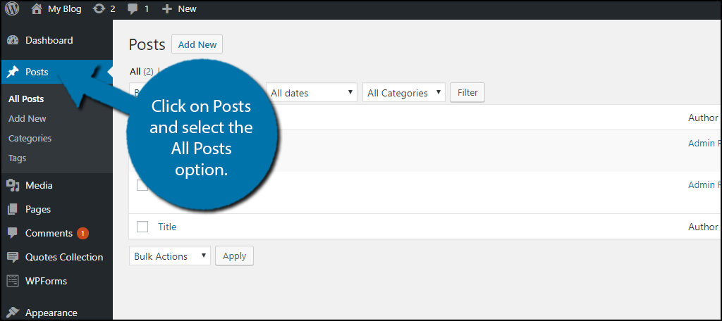 click on Posts and select the All Posts option.