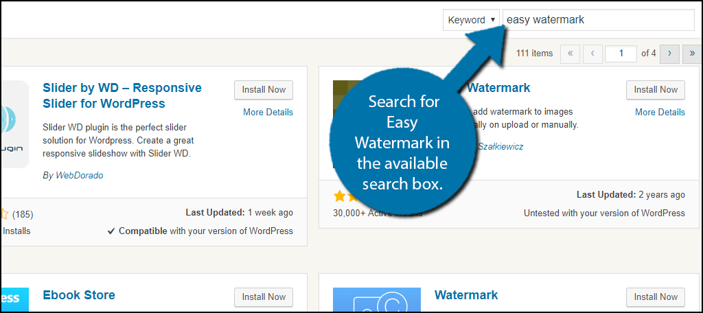 Search for Easy Watermark in the available search box.