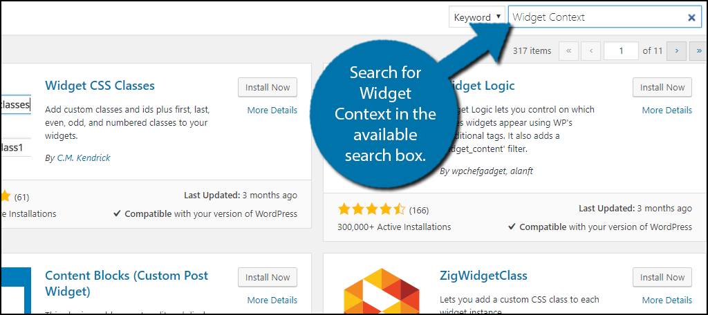 Search for Widget Context in the available search box.