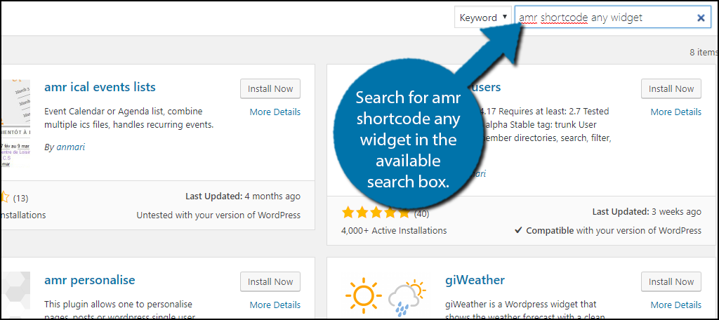 Search for amr shortcode any widget in the available search box.