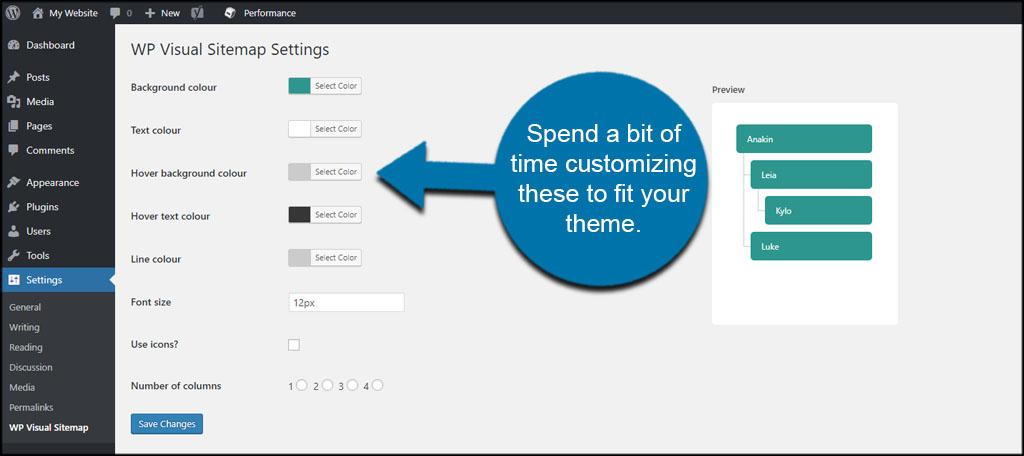 Customize WP Visual Sitemap