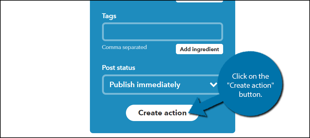 """Click on the """"Create action"""" button."""