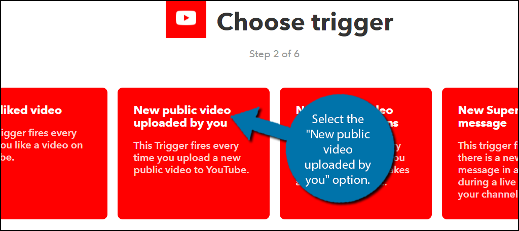 "Select the ""New public video uploaded by you"" option."