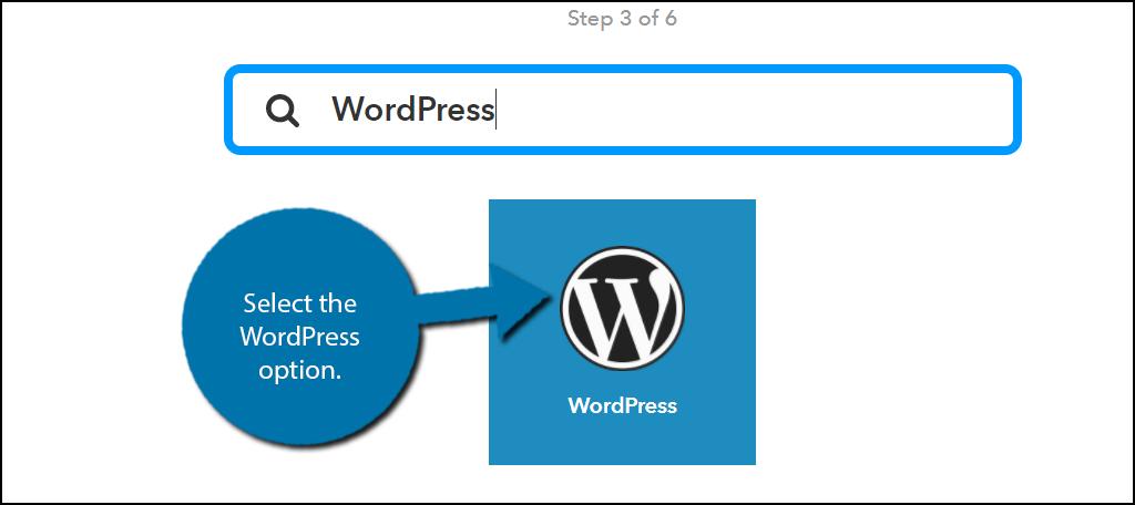 Select the WordPress option.