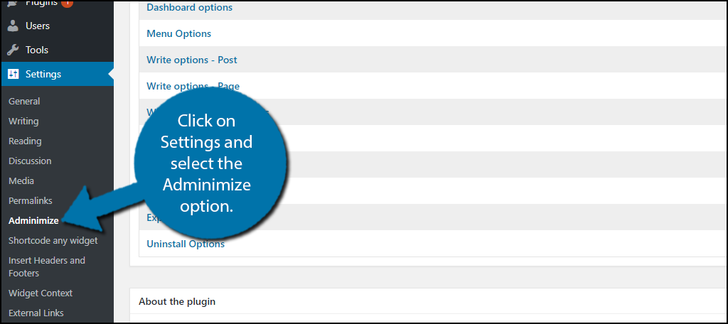 Click on Settings and select the Adminimize option.