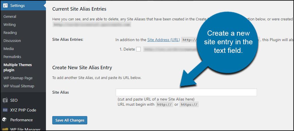 Site Alias Entry
