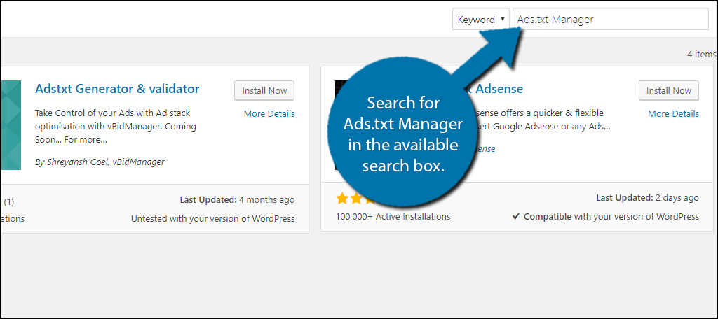 Search for Ads.txt Manager in the available search box.