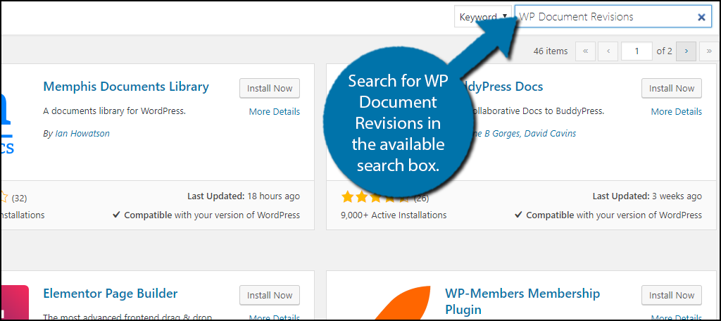 Search for WP Document Revisions in the available search box.