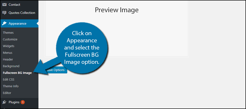Click on Appearance and select the Fullscreen BG Image option.