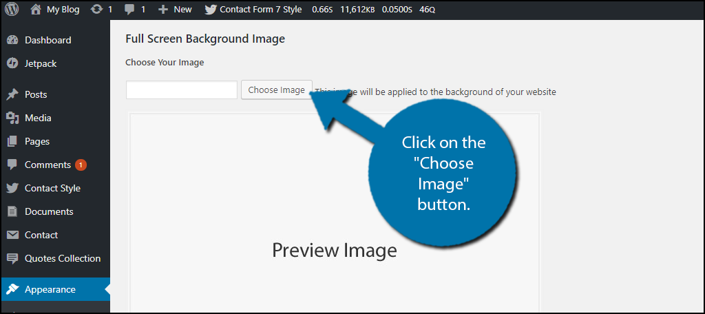 """Click on the """"Choose Image"""" button."""