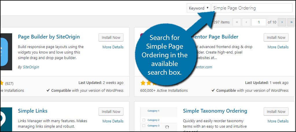 Search for Simple Page Ordering in the available search box.