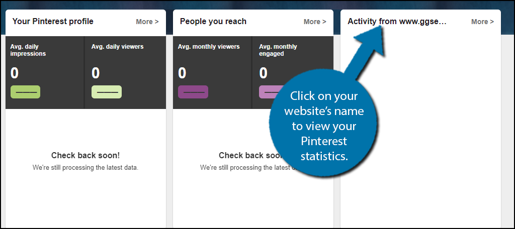Click on your website's name to view your Pinterest statistics