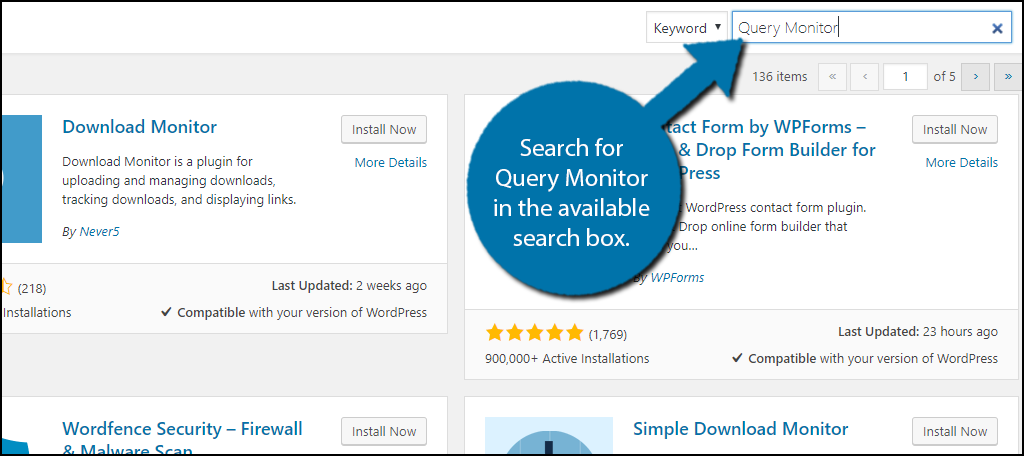 Search for Query Monitor in the available search box.