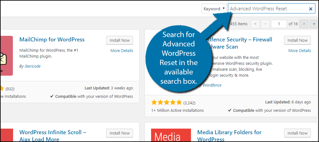 Search for Advanced WordPress Reset in the available search box.