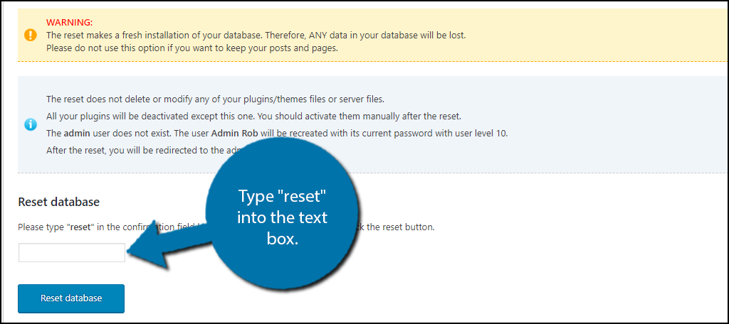 """Type """"reset"""" into the text box."""