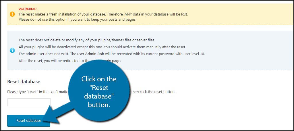 """Click on the """"Reset database"""" button."""