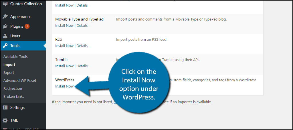 Click on the Install Now option under WordPress.