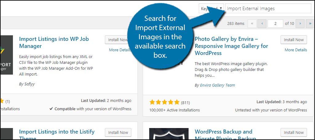 Search for Import External Images in the available search box.