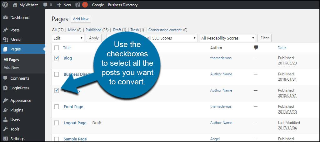 Content Checkbox