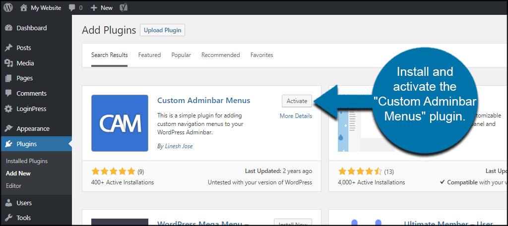 Custom Adminbar Menus