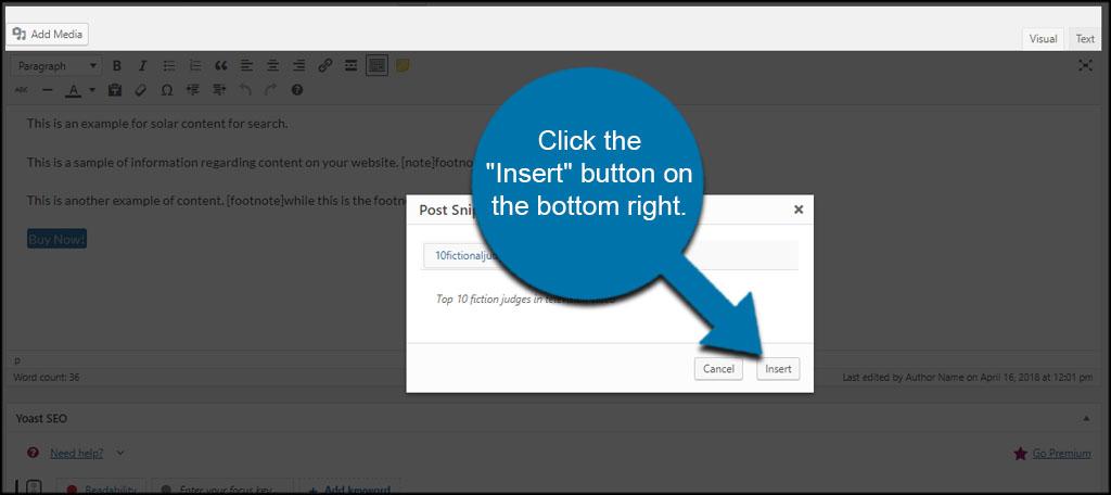 Insert Snippet Button