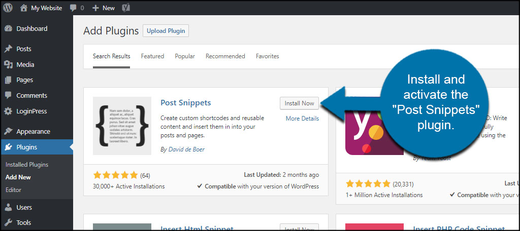 Install Post Snippets