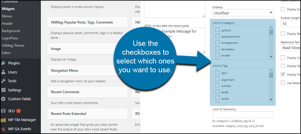 Select Categories Tags