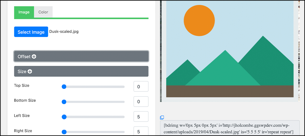 Size option for adding image borders to wordpress