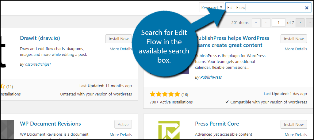 Search for Edit Flow in the available search box.
