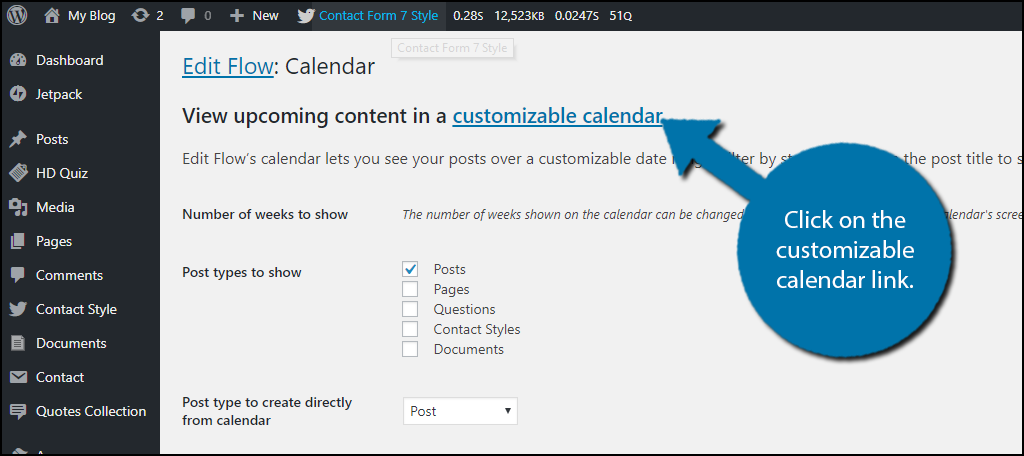 Click on the customizable calendar link.