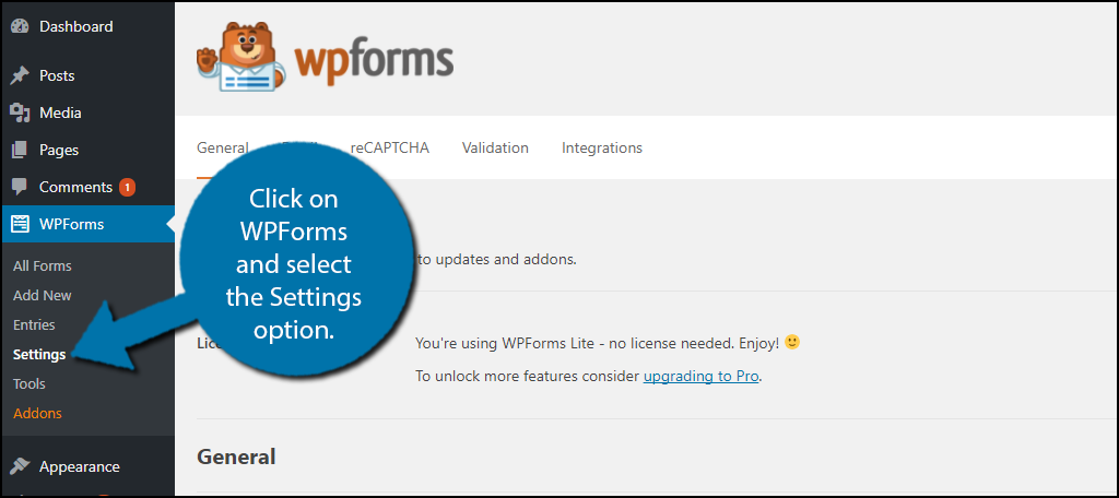 Click on WPForms and select the Settings option.
