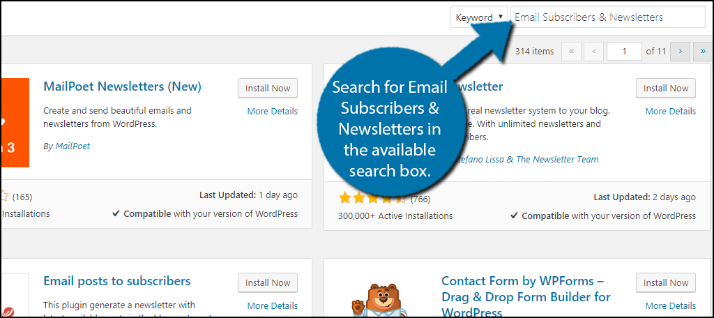Search for Email Subscribers & Newsletters in the available search box.