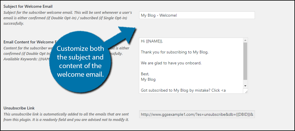 Customize your emails subject and content.