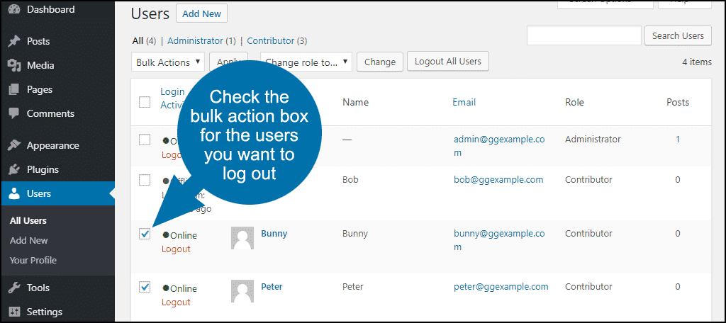 check the bulk action boxes to the left of the user name