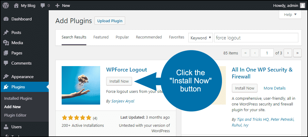 click to install the WordPress WPForce Logout plugin