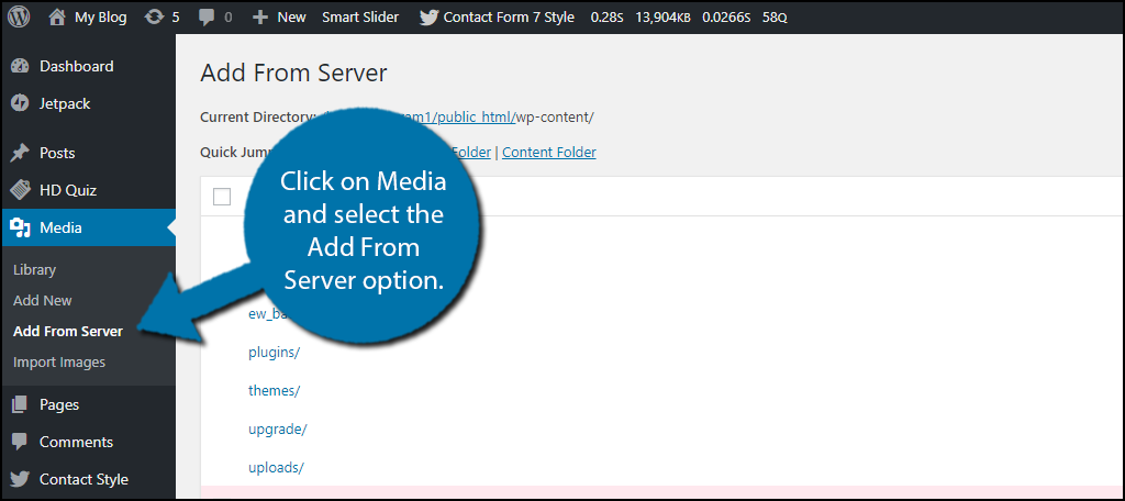click on Media and select the Add From Server option.
