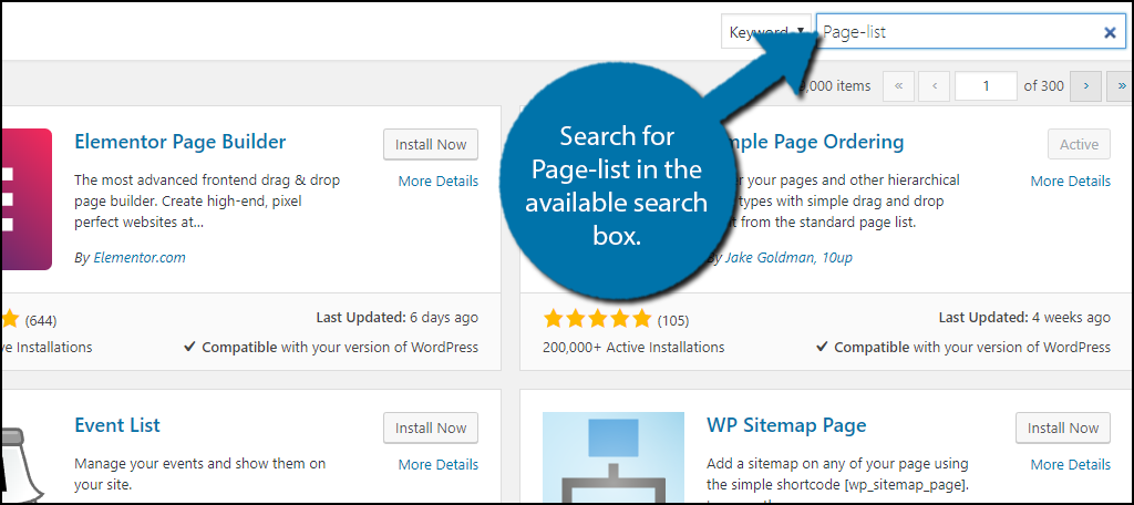 Search for Page-list in the available search box.