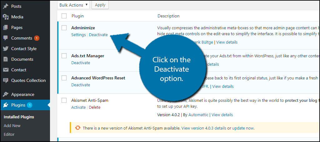 Click on the Deactivate option.