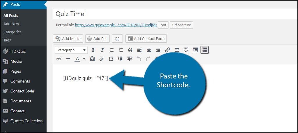 Paste the Shortcode.