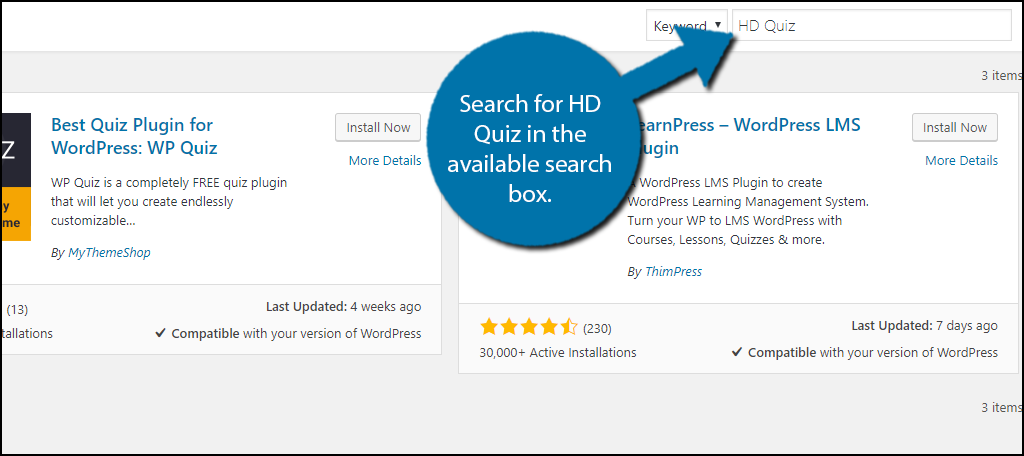 Search for HD Quiz in the available search box.