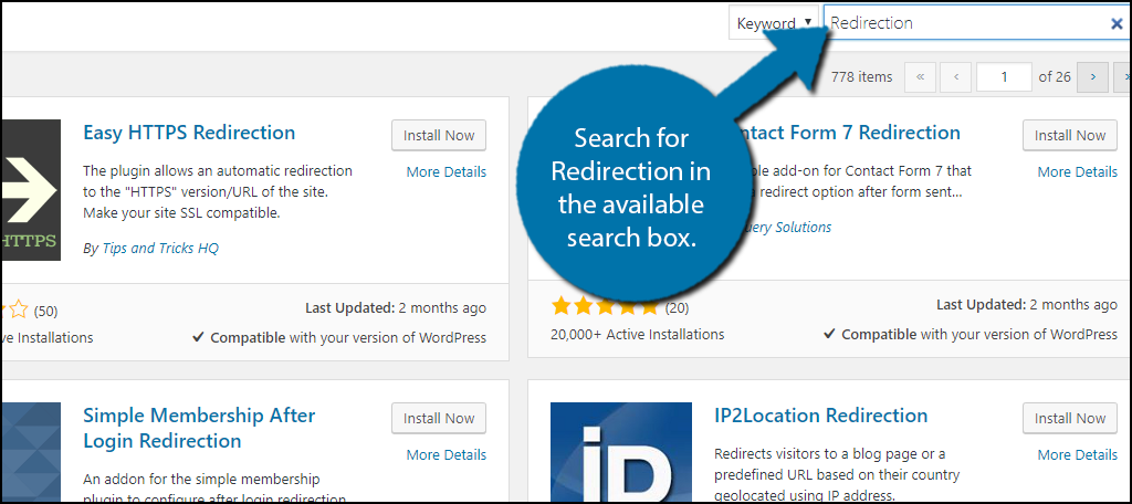 Search for Redirection in the available search box.