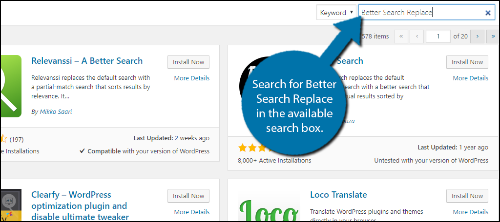Search for Better Search Replace in the available search box.