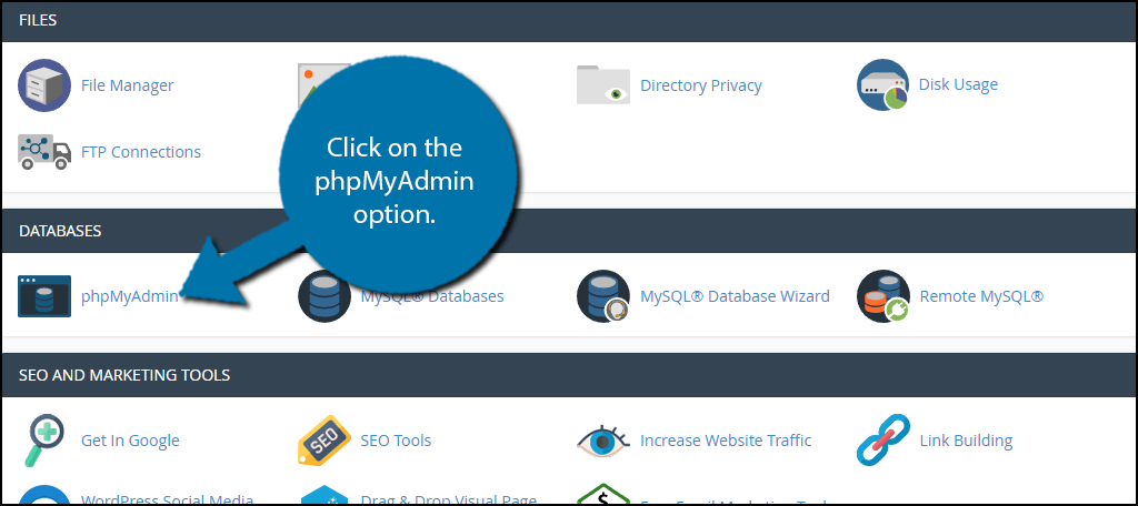 Click on the phpMyAdmin option.