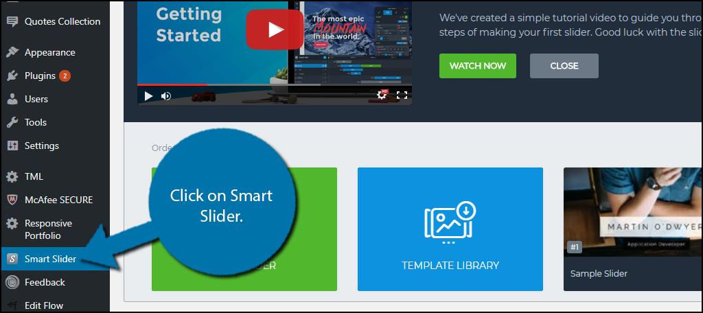 click on Smart Slider.