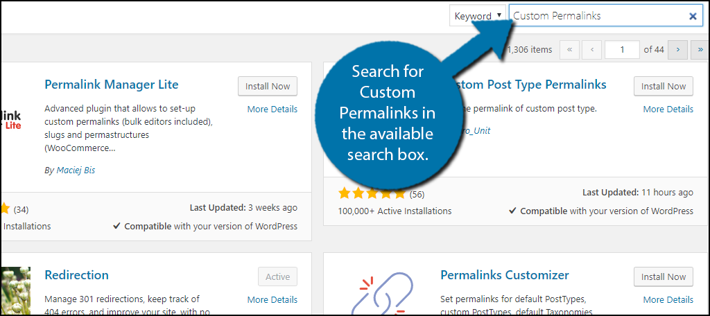 Search for Custom Permalinks in the available search box.