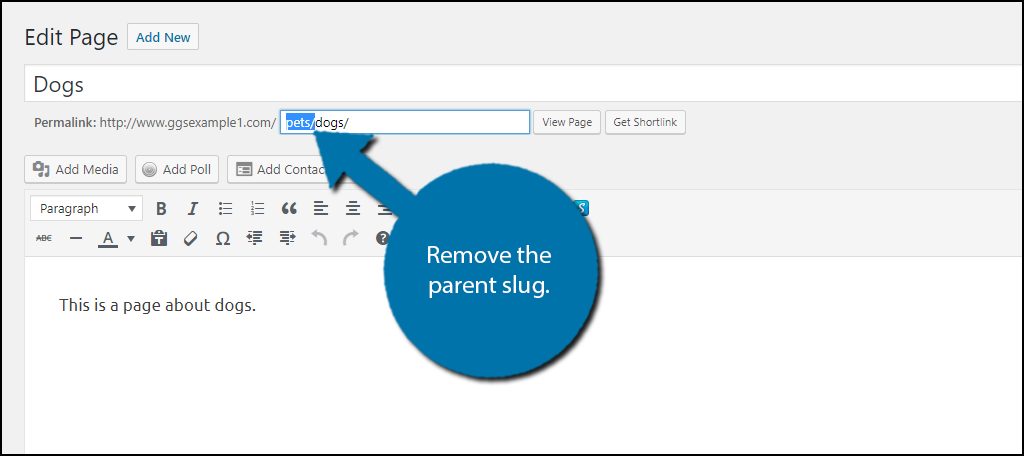 Remove the parent slug from the URL.