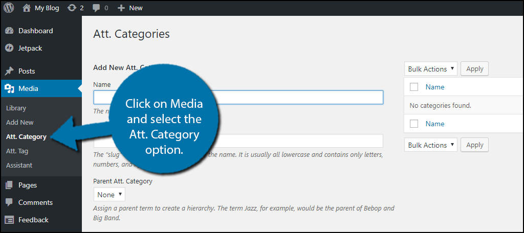 Click on Media and select the Att. Category option.