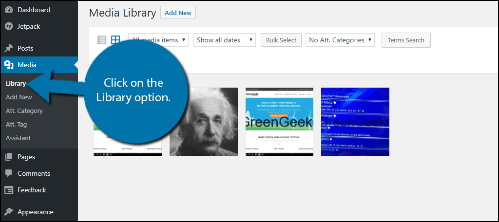 Click on the Library option.